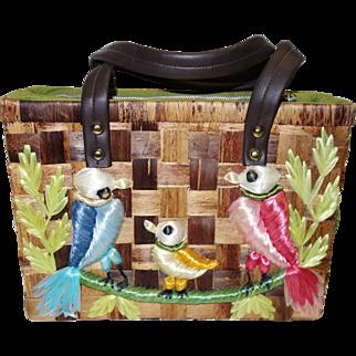 Vintage Adorable  Embellished Woven Basket Purse