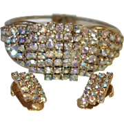 Vintage Aurora Borealis Rhinestone Clamper Bracelet and Earring Set