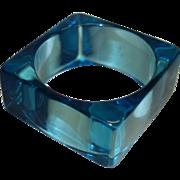 Vintage Square Transparent Teal Lucite Bangle Bracelet