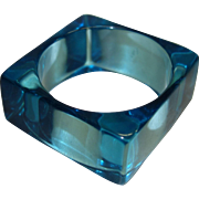 Vintage Square Transparent Teal Lucite Bangle Bracelet