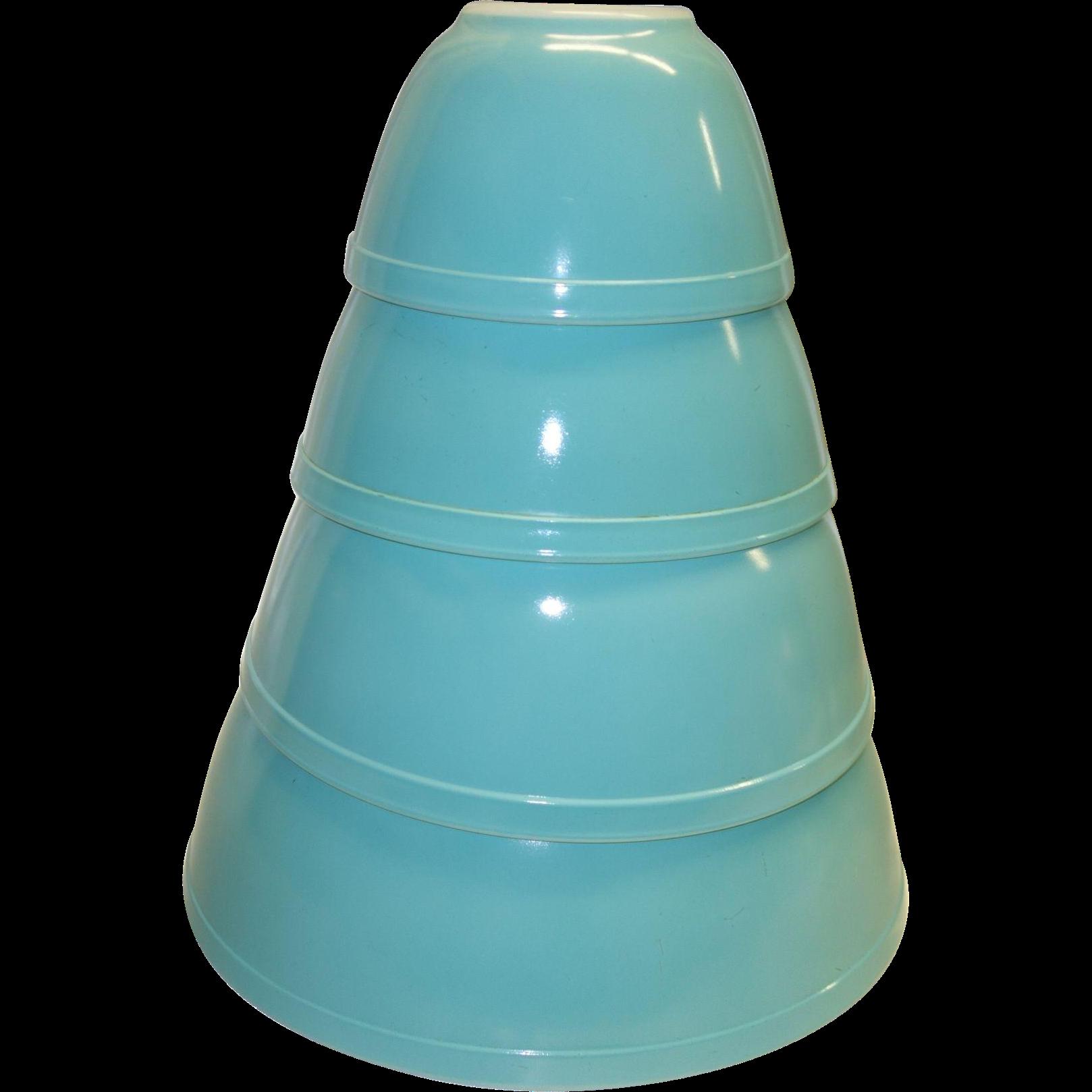 Vintage Pyrex Turquoise Mixing Bowl Set