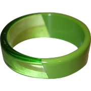 Vintage Diagonal Patterned Sliced Green Lucite Bangle Bracelet