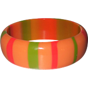 Vintage Peach Striped Lucite Bangle Bracelet