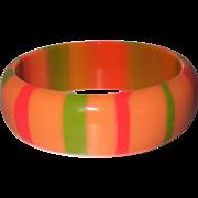 Vintage Peach Striped Lucite Bangle Bracelet