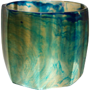 Vintage Extra Wide Transparent Marbled Blue Resin Bangle Bracelet