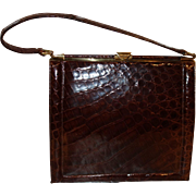 Vintage Deitsch Brown Alligator Frame Handbag