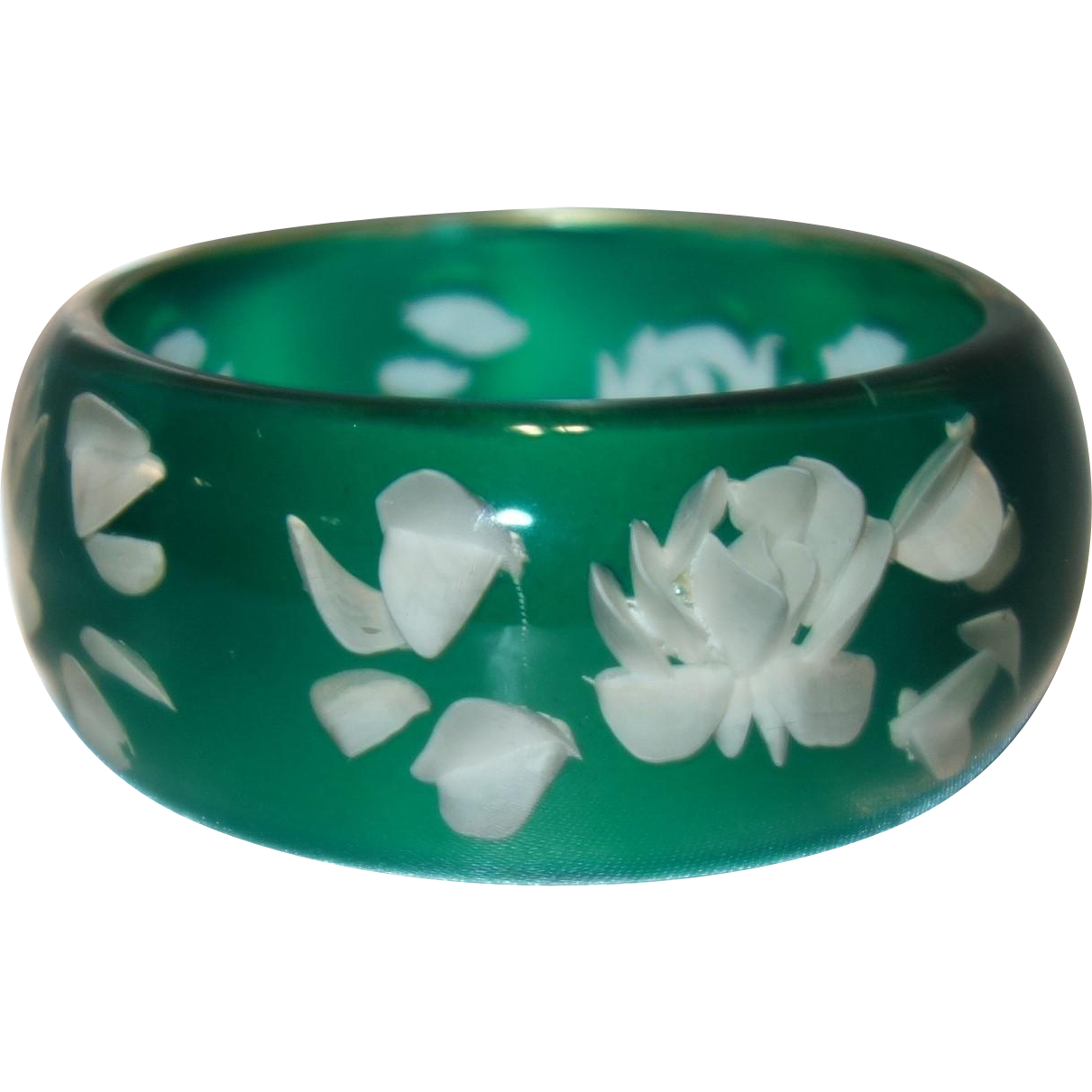 Vintage  Reverse Carved Lucite Bangle Bracelet