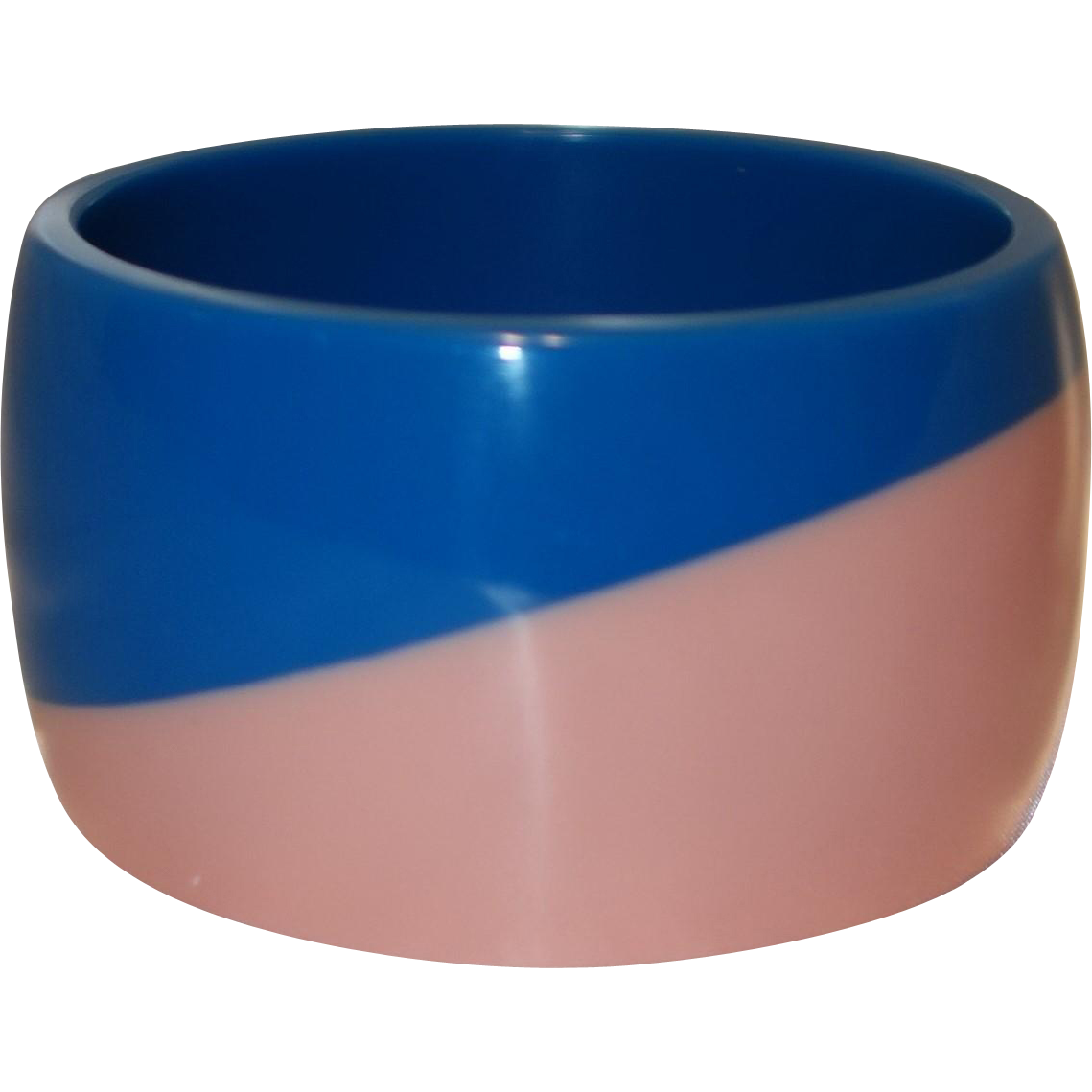 Vintage Wide Pink and Blue Lucite Bangle Bracelet