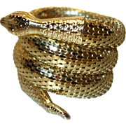 Vintage Whiting and Davis Gold Tone Metal Mesh Triple Coil Snake Bracelet MINT