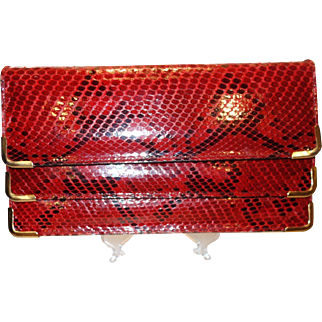 Vintage Red Snakeskin Convertible Clutch