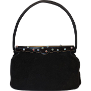 Vintage Black Suede Evening Bag with Jeweled Enamel Frame by Lucille De Paris