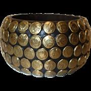 Vintage Extra Wide Embossed Brass Nail Head Resin Bangle Bracelet