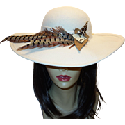 Vintage Off-White Wool Hat with Feather Accent by Sonni San Francisco