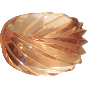 Vintage HUGE Spiral Transparent Peach Lucite Bangle Bracelet
