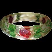 Vintage Reverse Carved Faceted Lucite Bangle Bracelet