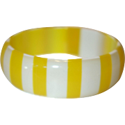 Vintage Translucent Yellow and White Striped Lucite Bangle Bracelet