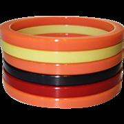 Set of Three Sliced Bakelite Bangle Bracelets