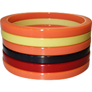 Set of Six Sliced Bakelite Bangle Bracelets