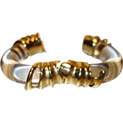 Vintage Dramatic Thick Clear Lucite and Gold Tone Metal Hinge Bracelet