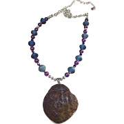 Blue Cobalt Aura Quartz Mini Geode Necklace