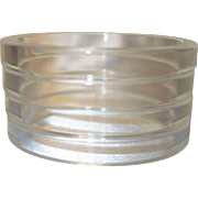 Four Clear Sliced Lucite Bangle Bracelets