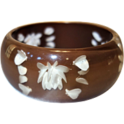 Vintage Brown Reverse Carved Lucite Bangle Bracelet