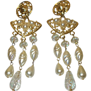 Vintage Faux Pearl Shoulder Duster Earrings