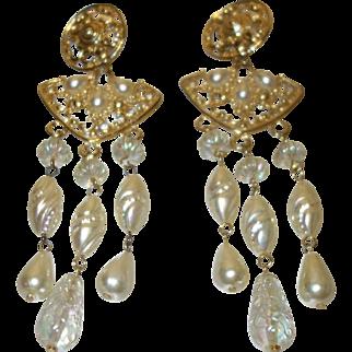 Vintage Faux Pearl Shoulder Duster Earrings