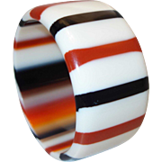 Vintage Red and Black WIDE Striped Lucite Bangle Bracelet