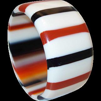 Vintage Red and Black WIDE Striped Lucite Bangle Bracelet