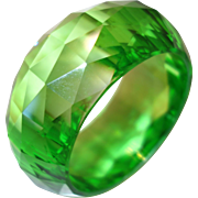 Vibrant Wide Faceted Bright Green Resin Bangle Bracelet