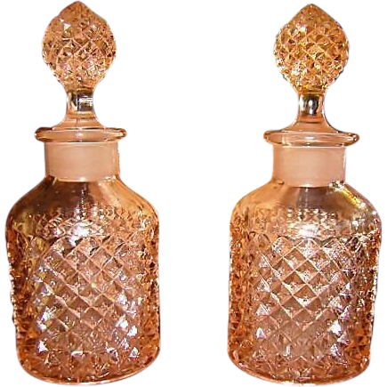 Westmoreland Pink English Hobnail Vanity Bottles
