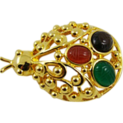 Beautiful Glass Scarab Beetle Brooch