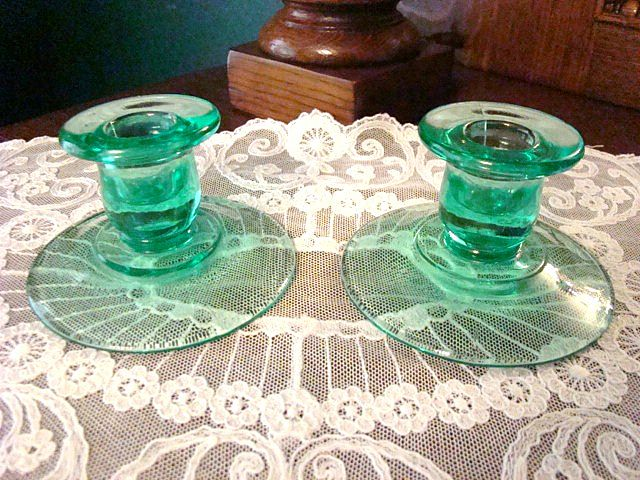 Imperial Glass Aquamarine Glass Candle Holders