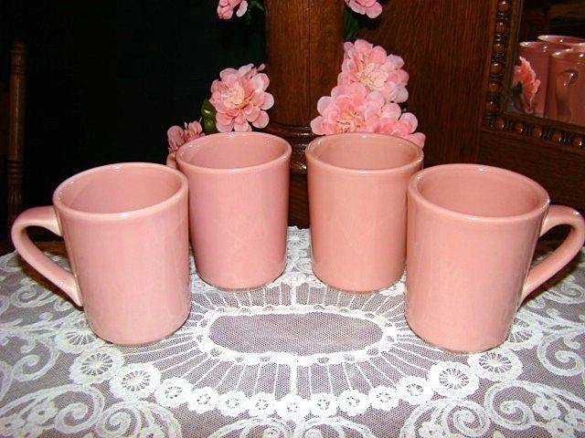 Retired Fiesta Mates Rose Mugs ~ Set of 4