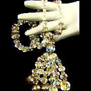 Stunning Old ROCK CRYSTAL Aurora Borealis & Rhinestone Rondelle Tassel Necklace