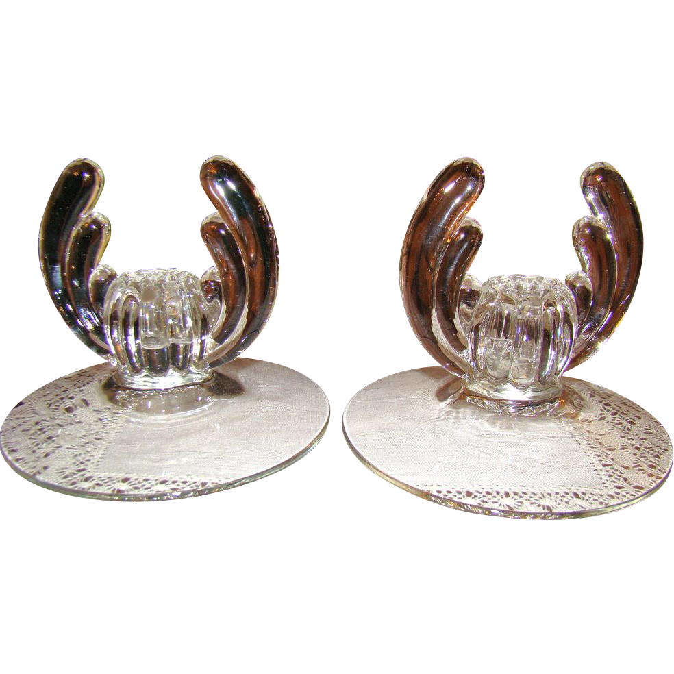 Heisey Crystolite Single Candleholders