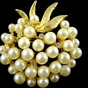 Creamy Imitation Pearl and Rhinestone Brooch by Pell