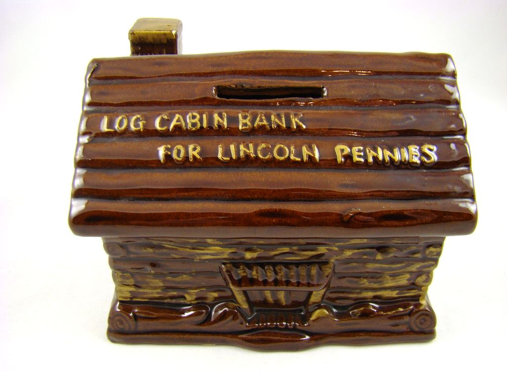 """Glazed Pottery """"Log Cabin Bank for Lincoln Pennies"""""""