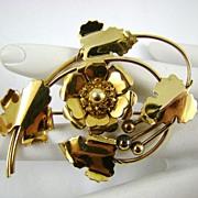 Louis Stern Amber Rhinestone Brooch ~ Circa 40s ~ 1/20 12Kt Gold Filled