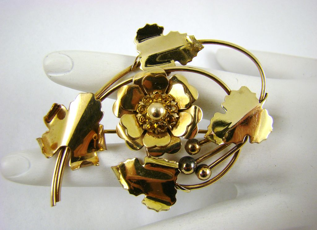Louis Stern Amber Rhinestone Brooch ~ Circa 40s ~ 1/20 12Kt Gold Filled