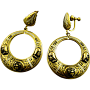 Rare ~ Toledoware Spanish Damasquinado Nubian Dangle Earrings