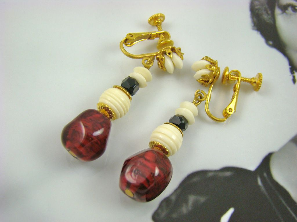 Miriam Haskell Cranberry and Ivory Colored Bead Dangle Earrings