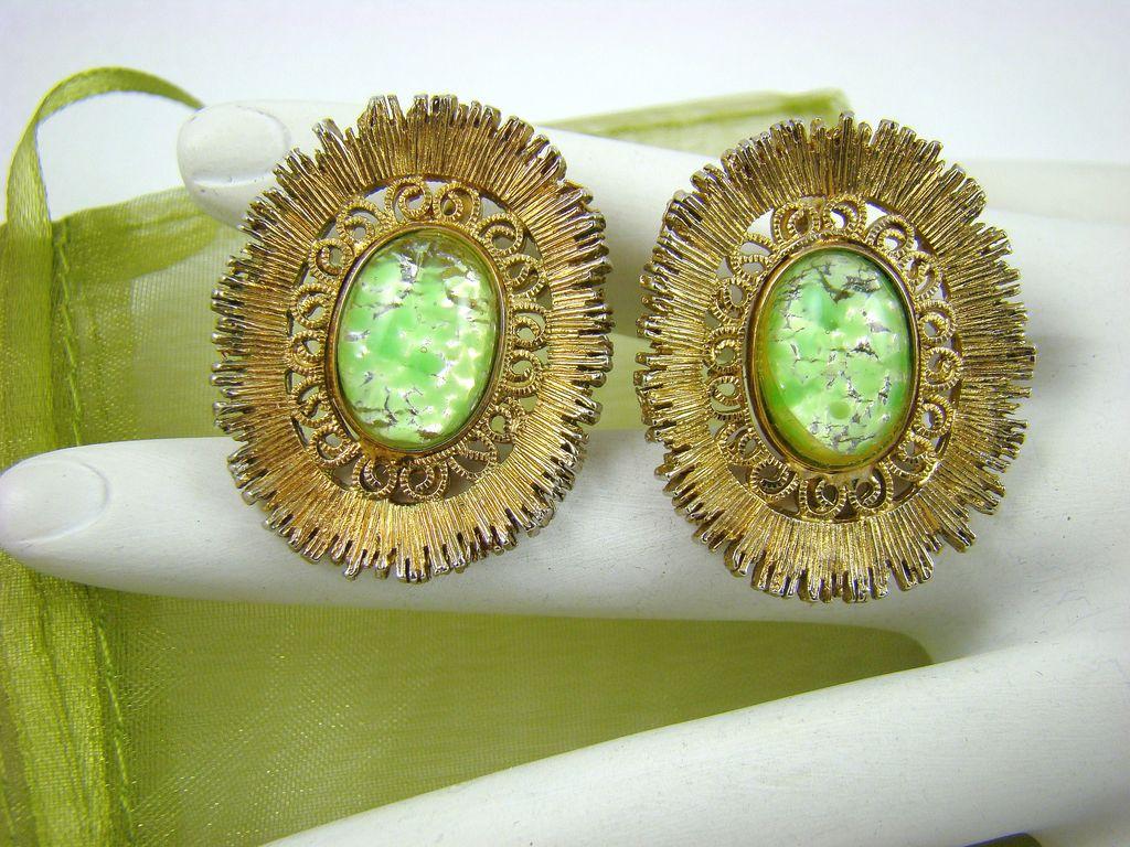Elizabeth MORREY Green Confetti Glass Earrings