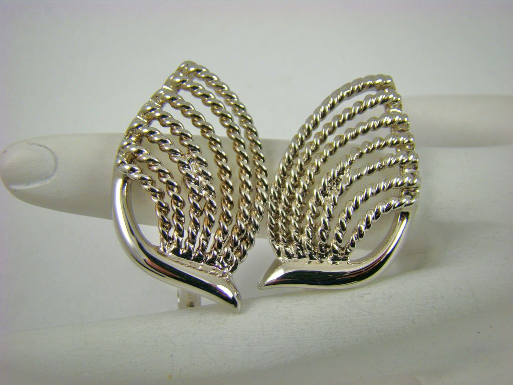 Silvertone Deco Style Napier Earrings