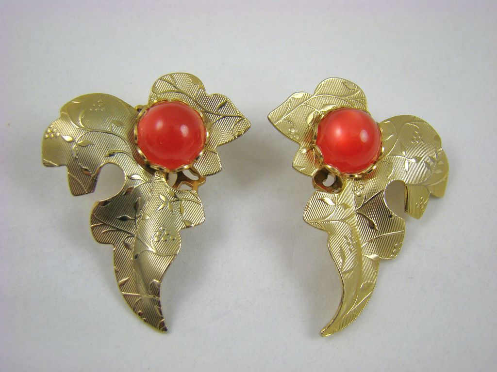Gold Tone Leaf Earrings with Red Moonglow Cabochons