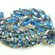 Phenomenal Shades of Blue Rhinestone Rhodium Plated Brooch