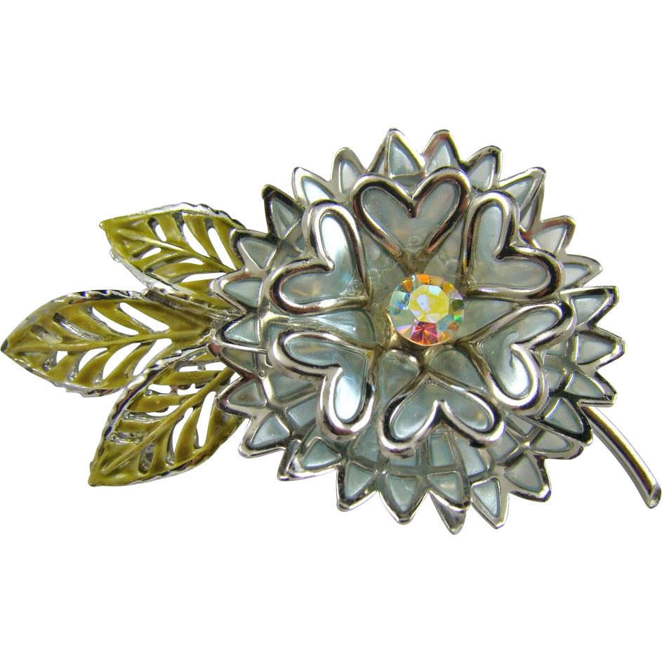 Three Dimensional Coro Aluminum Brooch with Enamel
