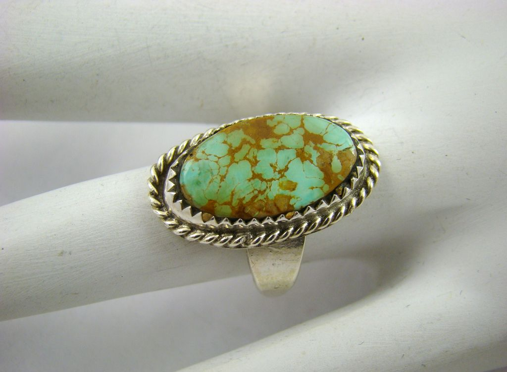 Sterling Turquoise with Brown Matrix Ring ~ Signed Otero