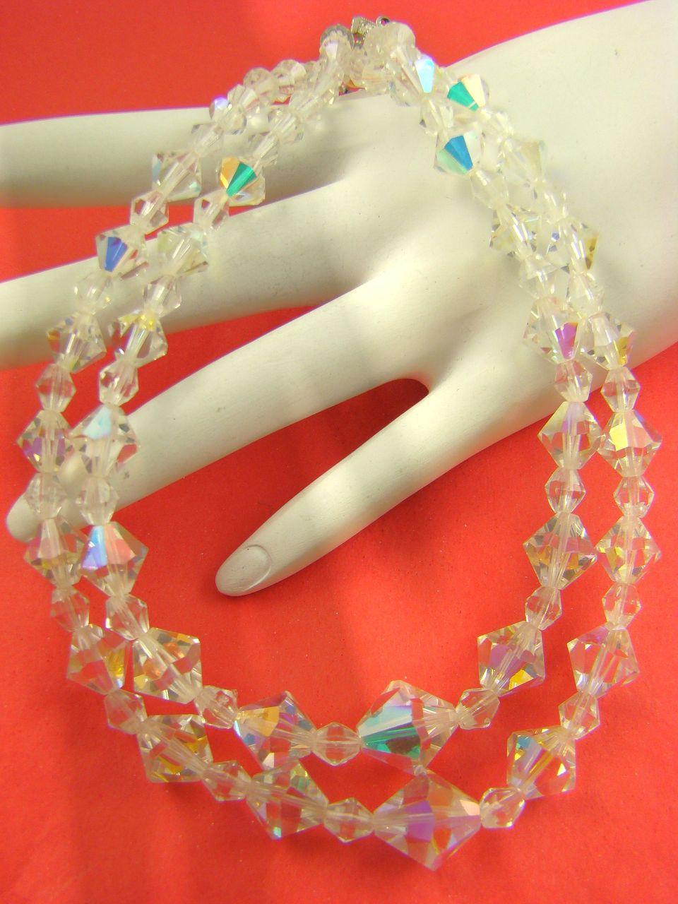 Sparkling Aurora Borealis Bicone Crystal Bead Necklace
